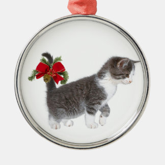 Kitten with Christmas bow Christmas Ornament