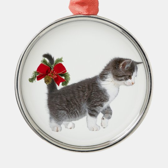 Kitten with Christmas bow Metal Ornament