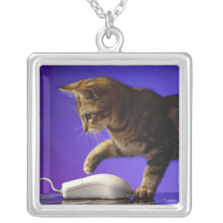 Kitten with computer mouse silver plated necklace