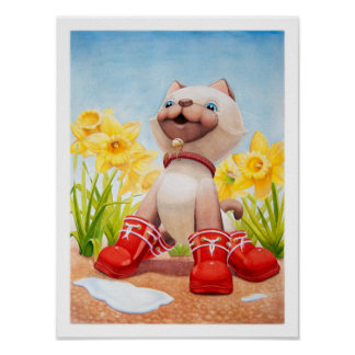 Kitten with Daffodils Nursery Print