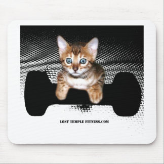 kitten with dumbbell, Black Mouse Pads