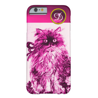 KITTEN WITH FUCHSIA PINK ROSES Gemstone Monogram Barely There iPhone 6 Case