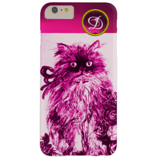 KITTEN WITH FUCHSIA PINK ROSES Gemstone Monogram Barely There iPhone 6 Plus Case