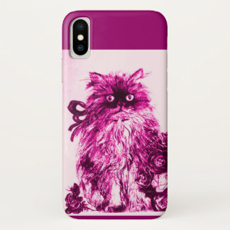 KITTEN WITH FUCHSIA PINK ROSES ,White Purple iPhone X Case