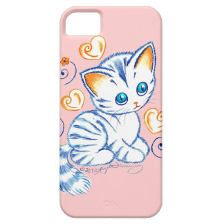 Kitten with Hearts & Swirls iPhone 5 Covers