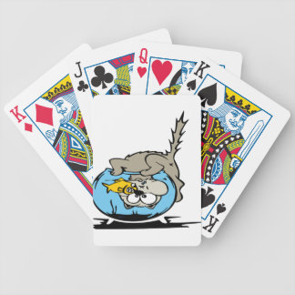 Kitten with his head  in a fishbowl bicycle playing cards