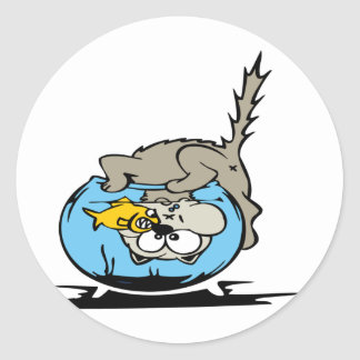 Kitten with his head  in a fishbowl classic round sticker