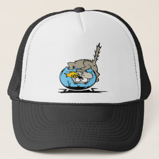 Kitten with his head  in a fishbowl trucker hat