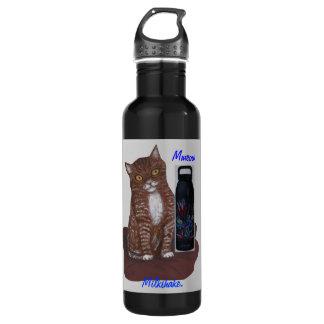 Kitten with Milk Shake in Liberty Bottle