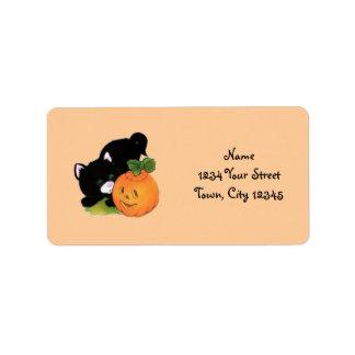 Kitten with Pumpkin Label