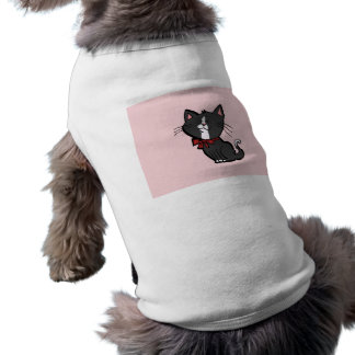 Kitten with Red Bow on Pink Dog Tee Shirt
