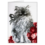 KITTEN WITH RED ROSES ,Black and White Card
