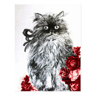 KITTEN WITH RED ROSES , Black and White Postcard