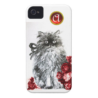 KITTEN WITH RED ROSES RUBY GEM MONOGRAM,white Case-Mate iPhone 4 Case