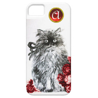 KITTEN WITH RED ROSES RUBY GEM MONOGRAM,white iPhone SE/5/5s Case
