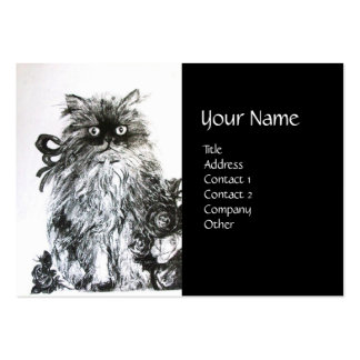 KITTEN WITH ROSES ,Black and White Large Business Cards (Pack Of 100)