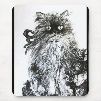 KITTEN WITH ROSES ,Black and White Mouse Pad