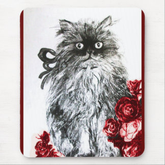 KITTEN WITH ROSES ,Black and White Red Mouse Pad