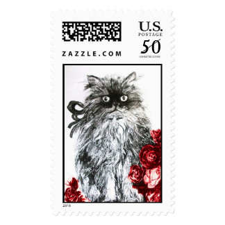 KITTEN WITH ROSES ,Black and White Red Postage