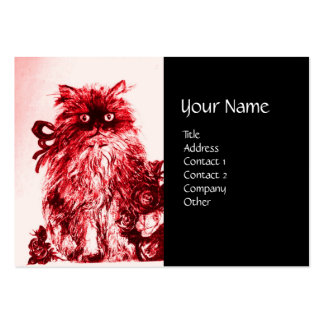 KITTEN WITH ROSES , Black Red and White Large Business Cards (Pack Of 100)