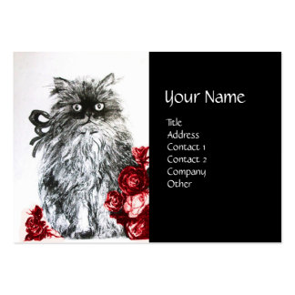 KITTEN WITH ROSES ,Black Red White Large Business Cards (Pack Of 100)