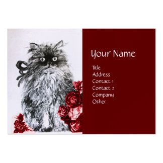 KITTEN WITH ROSES ,Black Red White Linen Paper Large Business Card