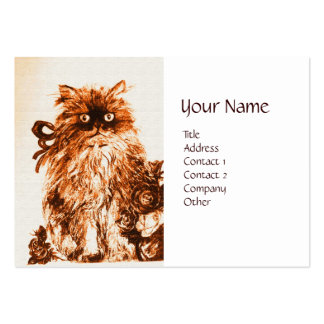 KITTEN WITH ROSES ,Brown and White Large Business Cards (Pack Of 100)