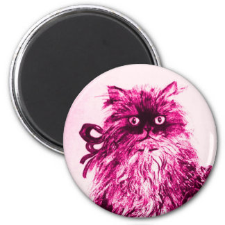 KITTEN WITH ROSES ,Pink Fuchsia White 2 Inch Round Magnet