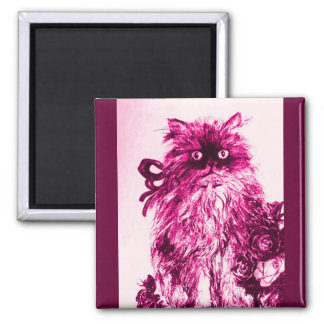 KITTEN WITH ROSES ,Pink Fuchsia White 2 Inch Square Magnet