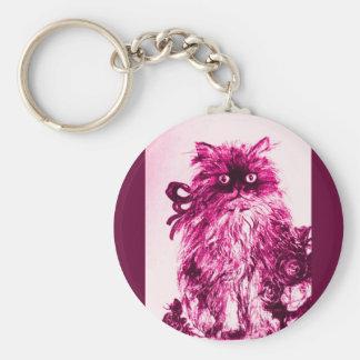 KITTEN WITH ROSES ,Pink Fuchsia White Basic Round Button Keychain