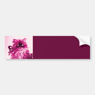 KITTEN WITH ROSES ,Pink Fuchsia White Bumper Sticker