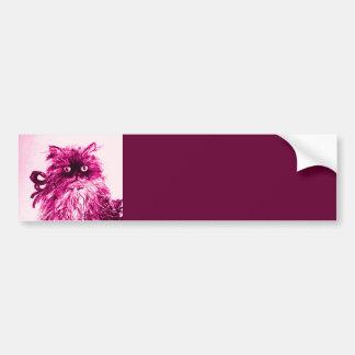 KITTEN WITH ROSES ,Pink Fuchsia White Bumper Sticker