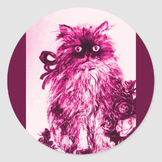 KITTEN WITH ROSES ,Pink Fuchsia White Classic Round Sticker