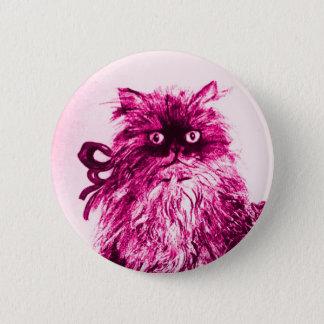 KITTEN WITH ROSES ,Pink Fuchsia White Pinback Button