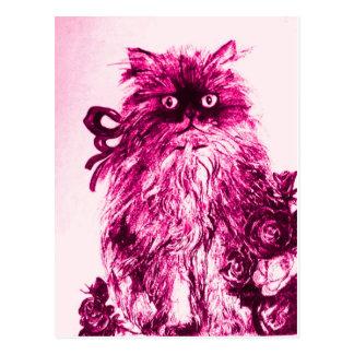 KITTEN WITH ROSES ,Pink Fuchsia White Postcard