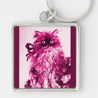 KITTEN WITH ROSES ,Pink Fuchsia White Silver-Colored Square Keychain