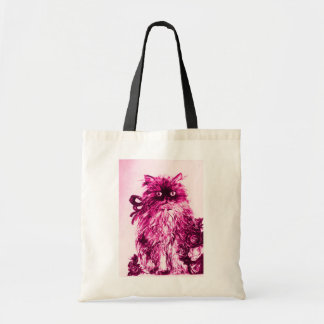 KITTEN WITH ROSES ,Pink Fuchsia White Tote Bag