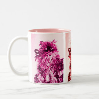 KITTEN WITH ROSES ,Pink Fuchsia White Two-Tone Coffee Mug
