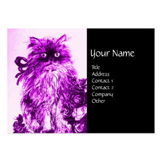 KITTEN WITH ROSES ,Purple Violet and White Black Large Business Cards (Pack Of 100)