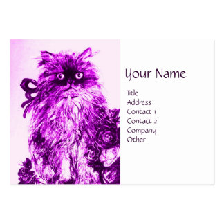 KITTEN WITH ROSES ,Purple Violet and White Large Business Cards (Pack Of 100)