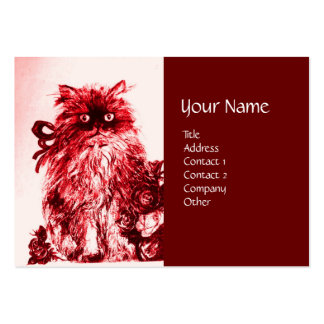 KITTEN WITH ROSES , Red and White Large Business Cards (Pack Of 100)