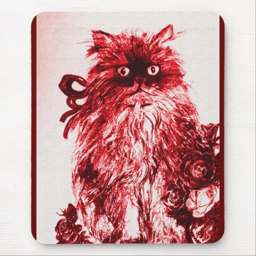 KITTEN WITH ROSES , Red and White Mousepad