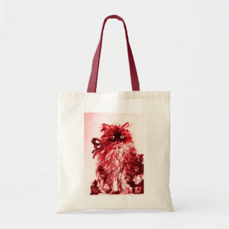 KITTEN WITH ROSES ,Red and White Tote Bag