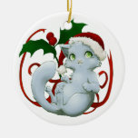 Kitten with santa hat Double-Sided ceramic round christmas ornament