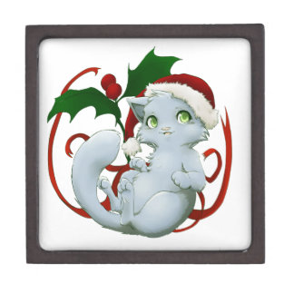 Kitten with santa hat premium gift box
