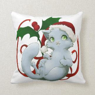 Kitten with santa hat throw pillow