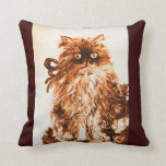 KITTEN WITH WHITE BROWN GREEN  ROSES PILLOW