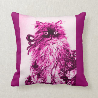 KITTEN WITH WHITE PURPLE PINK  ROSES THROW PILLOW