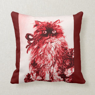 KITTEN WITH WHITE RED ROSES THROW PILLOW