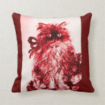 KITTEN WITH WHITE RED ROSES THROW PILLOWS